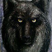 """Картины и панно ручной работы. Ярмарка Мастеров - ручная работа """"Ночной волк"""" рельефное панно. Handmade."""