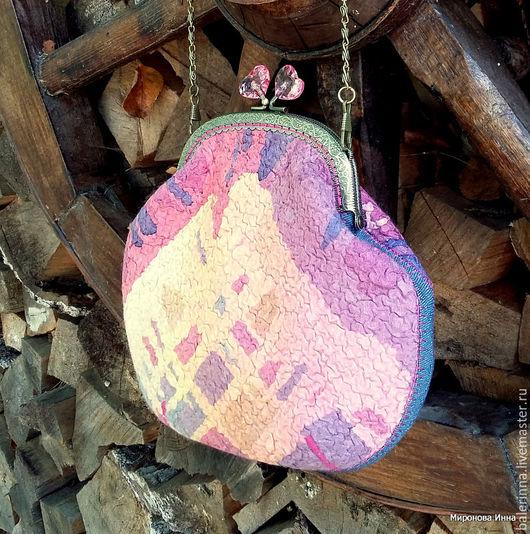 Женские сумки ручной работы. Ярмарка Мастеров - ручная работа. Купить Сумочка с фермуаром войлочная. Handmade. Мокрое валяние