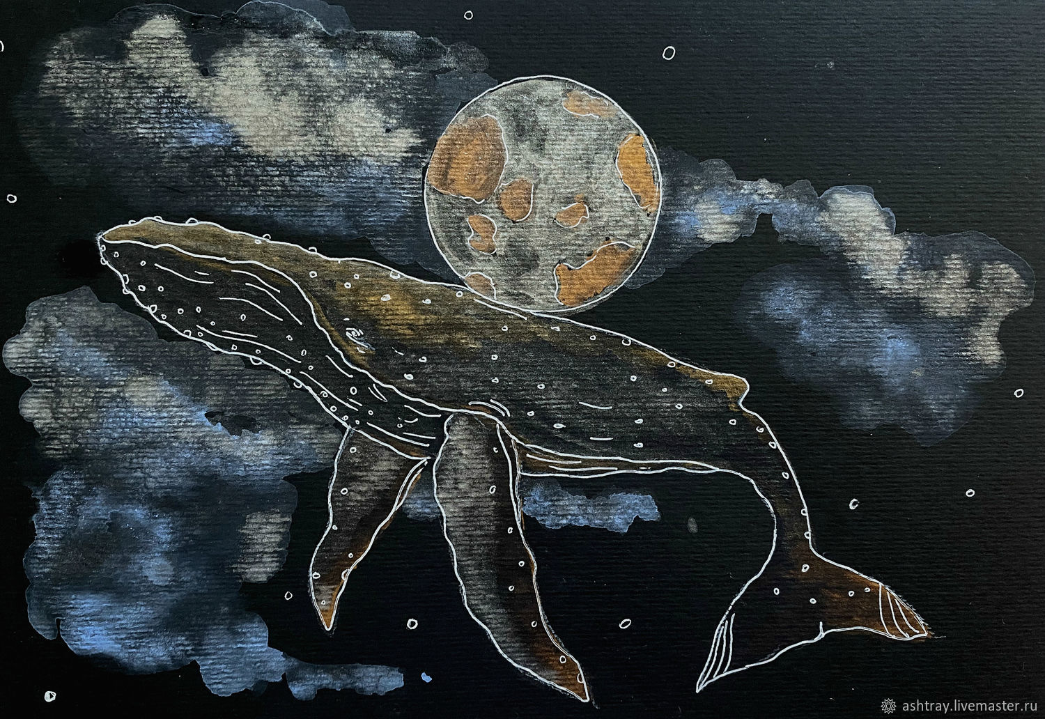 'Wise whale' watercolor painting (whale, space, sky), Pictures, Korsakov,  Фото №1