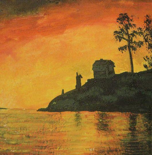 """Пейзаж ручной работы. Ярмарка Мастеров - ручная работа. Купить картина """"Закат"""". Handmade. Оранжевый, желтый, горы, пейзаж, вода"""