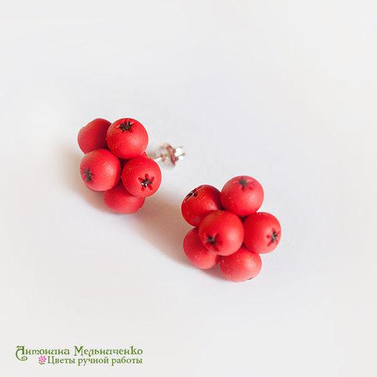"""Серьги ручной работы. Ярмарка Мастеров - ручная работа. Купить Серьги-мини """"Рябинка"""". Handmade. Рыжий, осень, осеннице цветы"""
