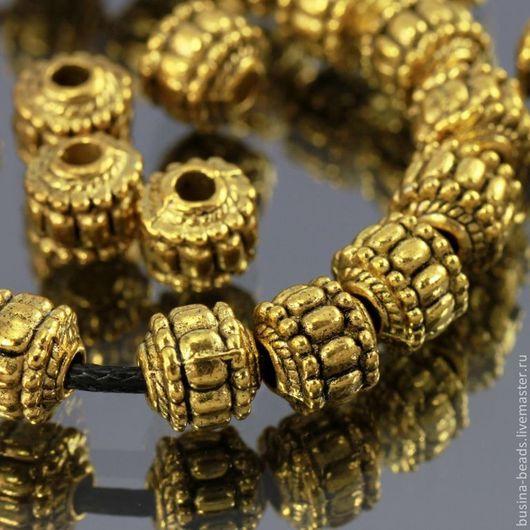 Бусины металлические литые из цинкового сплава Фонарики диаметром 7 мм с покрытием античное золото для сборки украшений