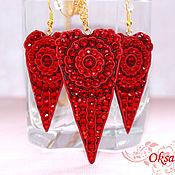 Украшения handmade. Livemaster - original item Earrings, pendant, Red heart set. Handmade.