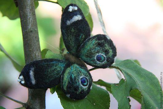 """Броши ручной работы. Ярмарка Мастеров - ручная работа. Купить Бабочка """"Батерфляй"""". Handmade. Тёмно-зелёный, бабочка валяная"""