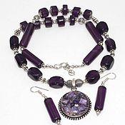 Украшения handmade. Livemaster - original item Chic set of charoite and amethyst: necklace and earrings. Handmade.