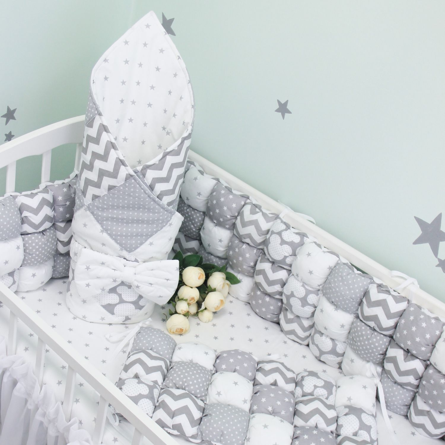 Bombon bumpers (set in a child's bed ), Sides for crib, Blagoveshchensk,  Фото №1