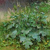 Картины и панно ручной работы. Ярмарка Мастеров - ручная работа Авторская картина маслом на холсте летний зеленый пейзаж с лопухами. Handmade.