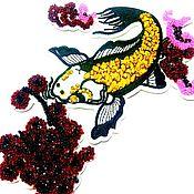Материалы для творчества handmade. Livemaster - original item Embroidery goldfish embroidered with rhinestones and beads. Handmade.