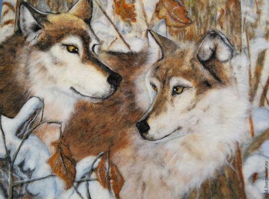 """Животные ручной работы. Ярмарка Мастеров - ручная работа. Купить Картина из шерсти """" Волки"""". Handmade. Комбинированный, пара"""
