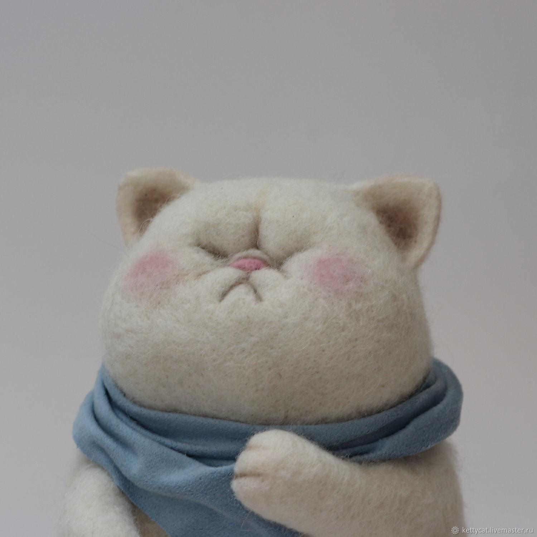 Игрушка толстый кот, кавайный котенок, японский аниме кот из шерсти, Войлочная игрушка, Москва,  Фото №1