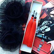 Украшения handmade. Livemaster - original item Earrings-tassels Fiery scarlet sunset red bright red. Handmade.
