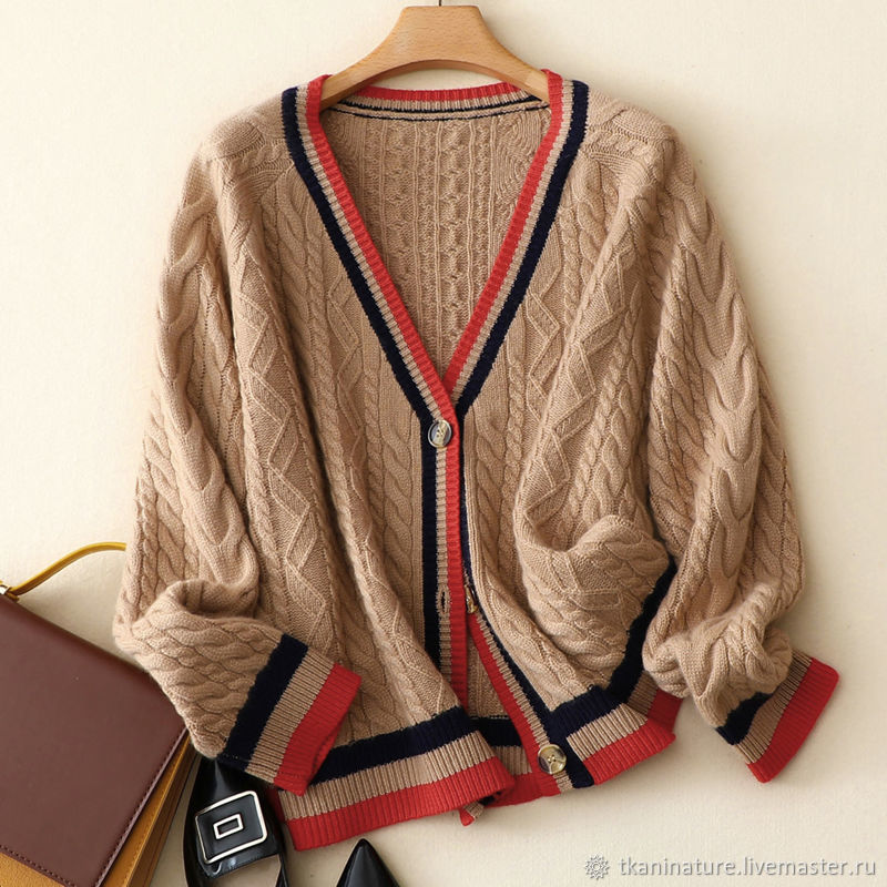 Thick-knit cardigan with braids-cashmere 100%, Cardigans, Ekaterinburg,  Фото №1