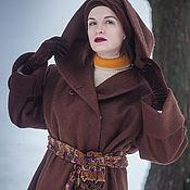 """Одежда ручной работы. Ярмарка Мастеров - ручная работа Пальто из войлока с капюшоном """"Шоколад"""" 16002. Handmade."""