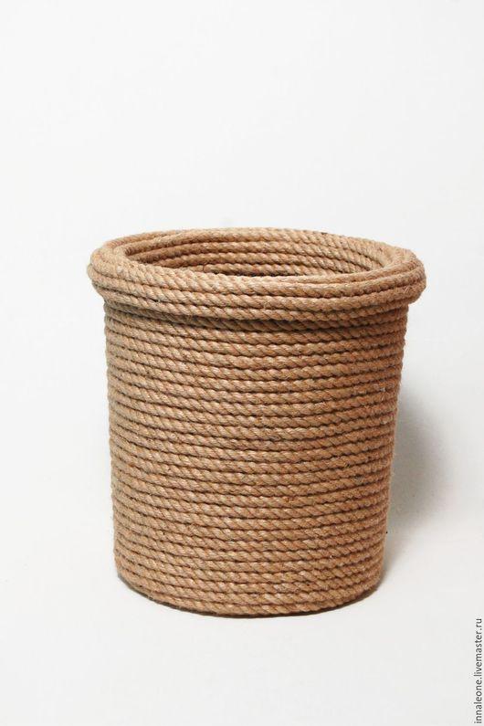 Корзины, коробы ручной работы. Ярмарка Мастеров - ручная работа. Купить Малая спиральная джутовая корзина для бумаг. Handmade. Хаки