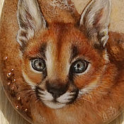 Pendants handmade. Livemaster - original item Painted pendant lacquer miniature Kitten Caracal necklace with stone. Handmade.