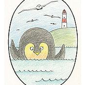 Картины и панно ручной работы. Ярмарка Мастеров - ручная работа Привет, пингвин! Постер, Принт, картина в детскую, пингвин. Handmade.