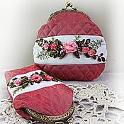 Сумки и аксессуары handmade. Livemaster - original item Kit cosmetic Bag and case for glasses Pink mood. Handmade.