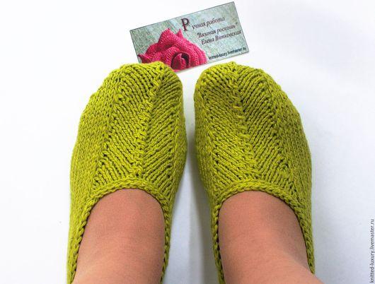 """Обувь ручной работы. Ярмарка Мастеров - ручная работа. Купить Вязаные тапочки-следки """"Весна"""" Хлопок. Handmade. Желтый"""