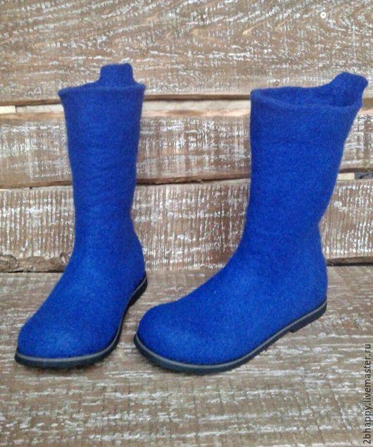 Обувь ручной работы. Ярмарка Мастеров - ручная работа. Купить Валенки Арчи Ультрамарин. Handmade. Синий, валенки на подошве