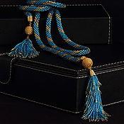 Украшения ручной работы. Ярмарка Мастеров - ручная работа Лариат сине-золотистый. Handmade.