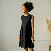 Одежда детская handmade. Livemaster - original item Black linen dress for girls Molly. Handmade.
