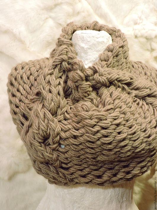 Шарфы и шарфики ручной работы. Ярмарка Мастеров - ручная работа. Купить Nutwool, крупновязаный снуд/горжетка. Handmade. Бежевый, шарф и шапка