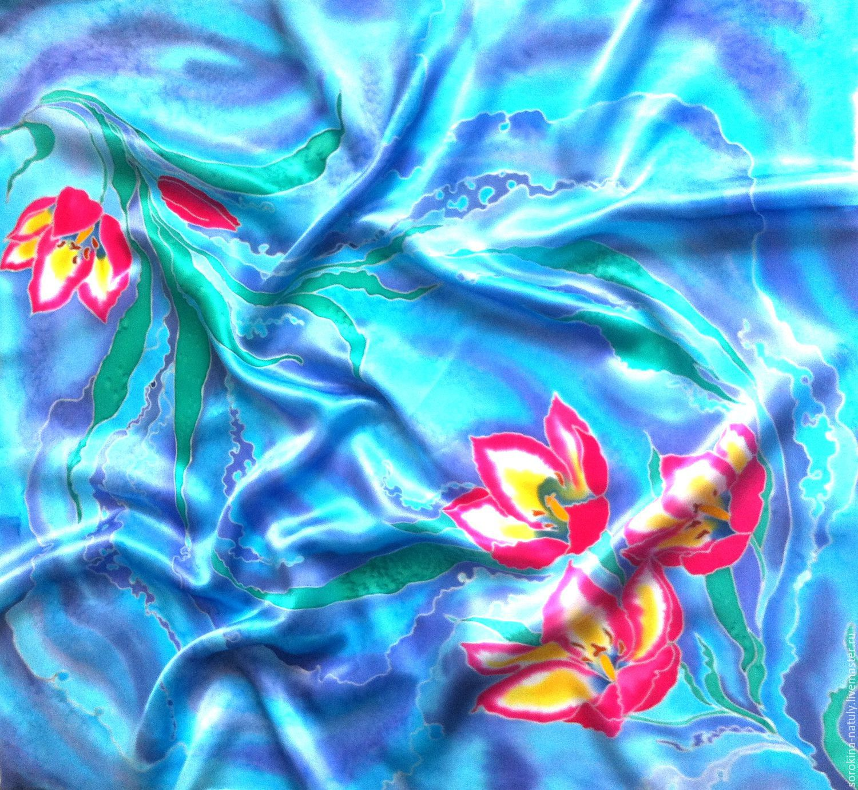 Батик платок Купить шелковый платок натуральный шёлк атлас Ручная работа Ярмарка мастеров Шёлковый рай Шёлковый платок батик Купить шёлковый платок батик В предчувствии весны Handmade Купить подарок