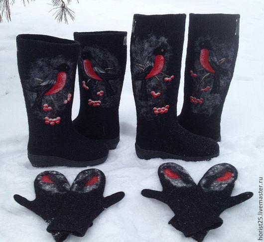 """Обувь ручной работы. Ярмарка Мастеров - ручная работа. Купить Валенки """"Снегири прилетели""""-повтор№3. Handmade. Черный, валенки с рисунком"""