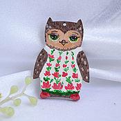 Украшения handmade. Livemaster - original item Icon: The wooden Owl brooch Sonia based on the owls of Inga paltser. Handmade.