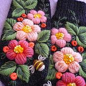 Аксессуары handmade. Livemaster - original item Mittens with hand embroidery