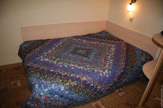 """Текстиль, ковры ручной работы. Ярмарка Мастеров - ручная работа. Купить """"Синий ромб"""" двуспальное лоскутное покрывало-одеяло. Handmade."""