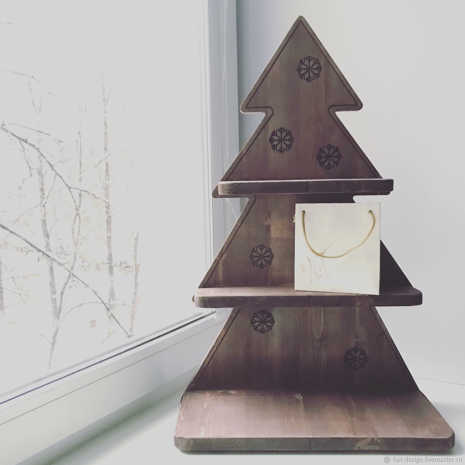 Wooden Christmas tree shelf – shop online on Livemaster with