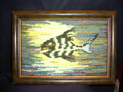 """Животные ручной работы. Ярмарка Мастеров - ручная работа. Купить Гобелен """"Злая рыбка"""". Handmade. Шерсть"""