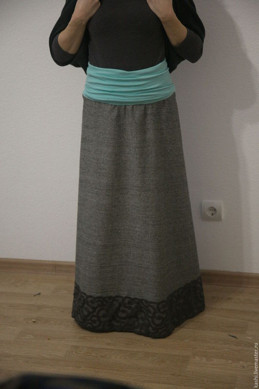 """Юбки ручной работы. Ярмарка Мастеров - ручная работа. Купить Двухсторонняя  юбка """"жду малыша"""". Handmade. Серый, юбка для беременной"""