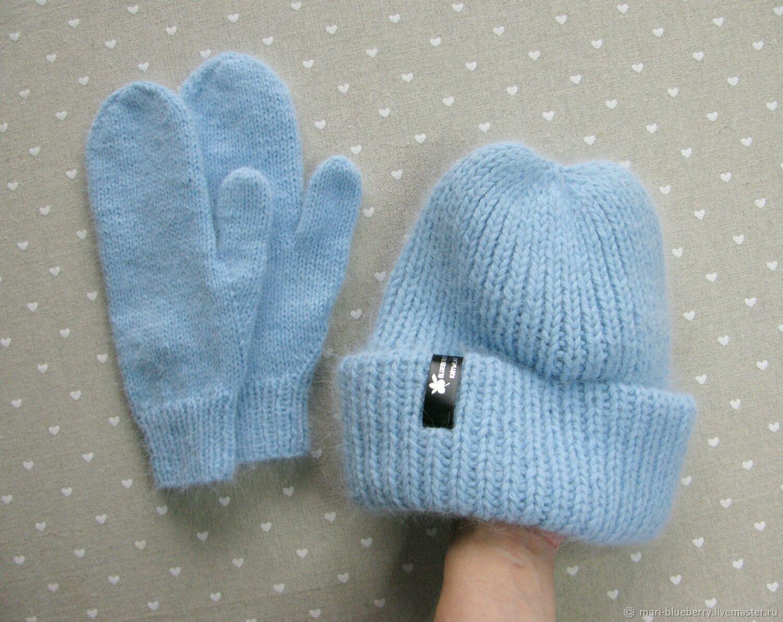 Women's set (cap mittens) ' blue ice', Headwear Sets, Syktyvkar,  Фото №1
