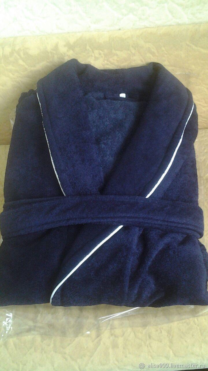 Men's velour Bathrobe-Terry blue, Robes, Moscow,  Фото №1