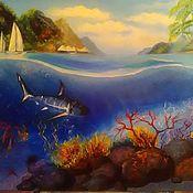 Картины ручной работы. Ярмарка Мастеров - ручная работа Картина маслом подводный мир. Handmade.