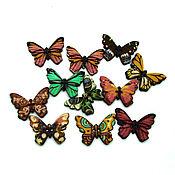 Материалы для творчества ручной работы. Ярмарка Мастеров - ручная работа пуговицы деревянные бабочки 1. Handmade.