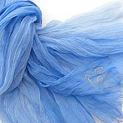 Аксессуары handmade. Livemaster - original item Blue stole Batik scarf