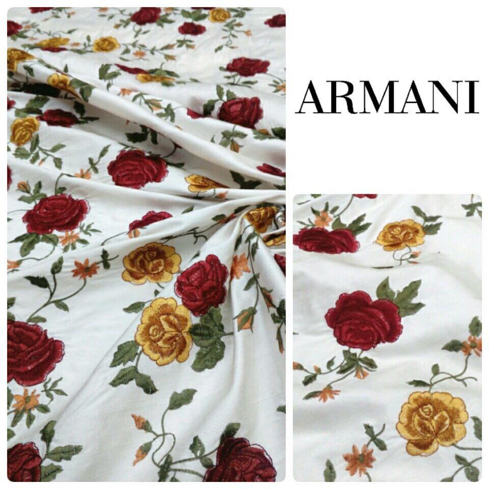 Итальянская ткань. ARMANI Шелк-шантунг с вышивкой, Ткани, Новосибирск,  Фото №1
