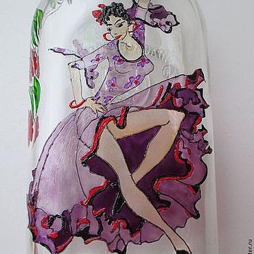 Посуда ручной работы. Ярмарка Мастеров - ручная работа Бутылки стеклянные витражные Танцовщица. Handmade.