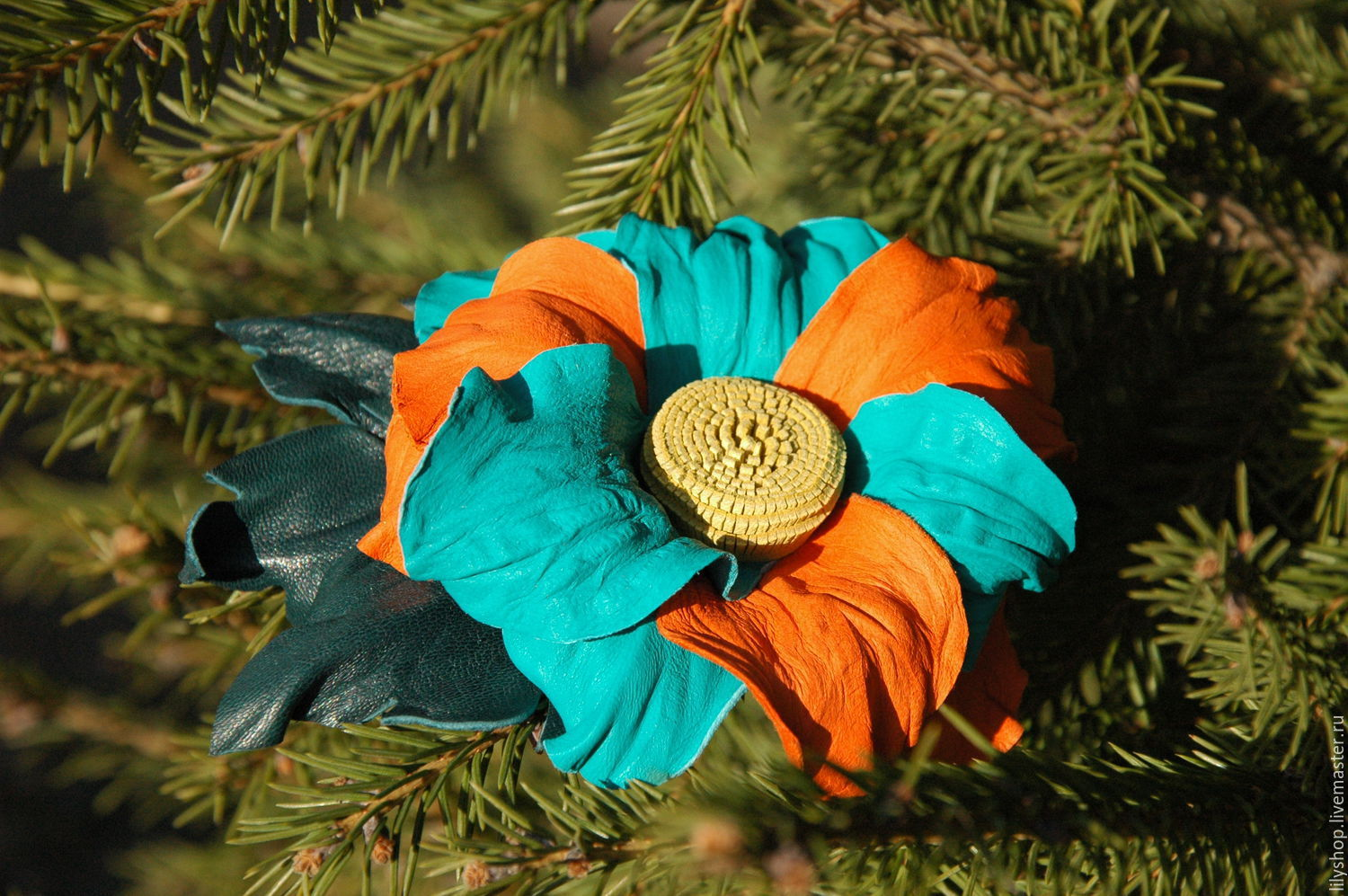 Flower leather (brooch, barrette), Brooch-clip, Moscow,  Фото №1