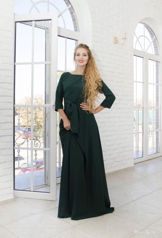 Зеленые платья в пол на вечер