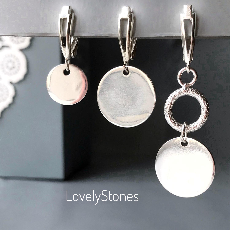 A set of three asymmetric earrings Discs, Earrings, Yaroslavl,  Фото №1