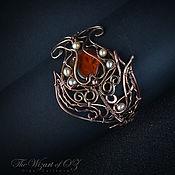 Украшения handmade. Livemaster - original item Copper and bronze bracelet with amber Tulip. Handmade.