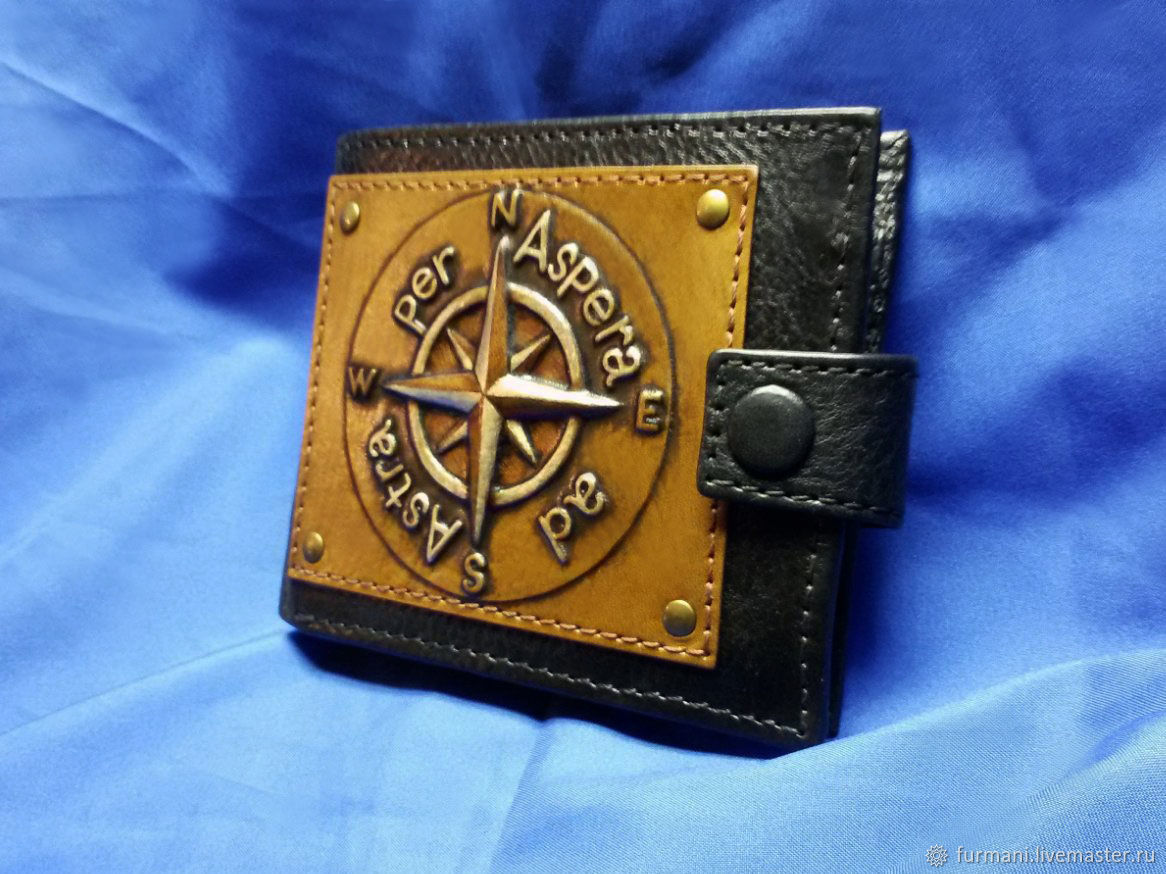 """Leather wallet """"WIND ROSE"""" with initials, Wallets, Krivoy Rog,  Фото №1"""