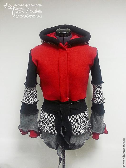 Верхняя одежда ручной работы. Ярмарка Мастеров - ручная работа. Купить Лоскутная куртка на заказ. Handmade. В клеточку, шерсть