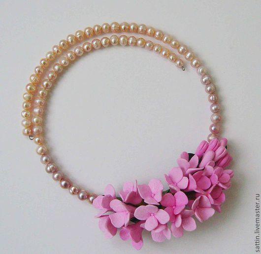 """Колье, бусы ручной работы. Ярмарка Мастеров - ручная работа. Купить Ожерелье """"Розовый цвет"""". Handmade. Жемчужное ожерелье"""
