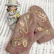 """Аксессуары ручной работы. Ярмарка Мастеров - ручная работа Варежки валяные """"Маленькая леди"""". Handmade."""