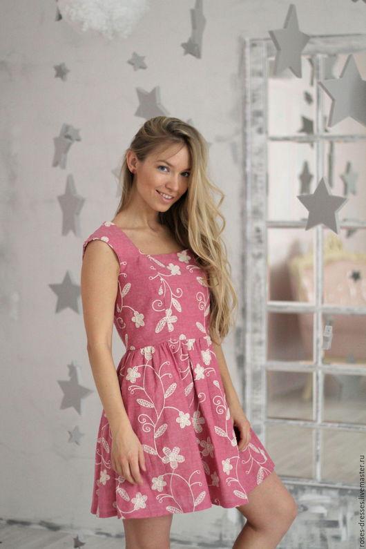 """Платья ручной работы. Ярмарка Мастеров - ручная работа. Купить Платье """"Вивьен"""" pink. Handmade. Брусничный, брусничное платье, хлопок"""
